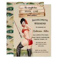 Rustic Fishing Weekend Bachelorette Invitation   #cats #health #fitness camping gadgets, camping recipes, camping meals, back to school, aesthetic wallpaper, y2k fashion