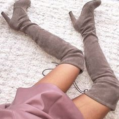 Grey over the knee boots for fall Love these.