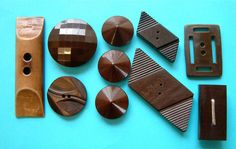 10 Vintage XL Brown Art Deco Celluloid & Other Plastic Buttons, Great Shapes