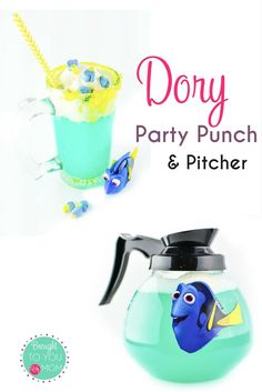 Check out this fun Dory Party Punch and Pitcher. Serve a sweet treat in style with this Finding Dory themed DIY pitcher. Perfect for a Finding Dory themed party.