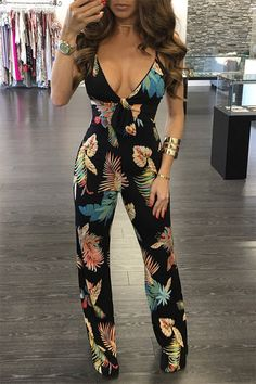 Random Floral Print Deep V-neck Backless Jumpsuit In Black