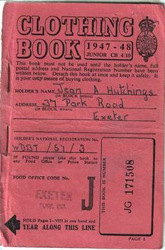 Ration book cover