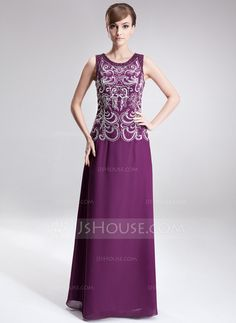 Mother of the Bride Dresses - $176.99 - A-Line/Princess Scoop Neck Floor-Length Chiffon Mother of the Bride Dress With Embroidered Beading Sequins (008006401) http://jjshouse.com/A-Line-Princess-Scoop-Neck-Floor-Length-Chiffon-Mother-Of-The-Bride-Dress-With-Embroidered-Beading-Sequins-008006401-g6401