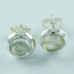 Abstract Design Real 925 Sterling Silver Rose Quartz Stone Studs Earring E3505 #SilvexImagesIndiaPvtLtd #Stud