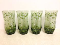 Green Vintage Drinking Glasses with Floral Pattern by GypsyMouse, $25.00