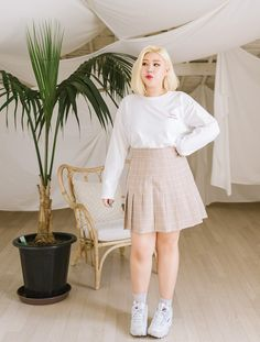 Plus size korean model Fat Girl Outfits, Curvy Outfits, Mode Outfits, Cute Casual Outfits, Plus Size Outfits, Fashion Outfits, Fat Girl Fashion, Chubby Fashion, Korean Girl Fashion