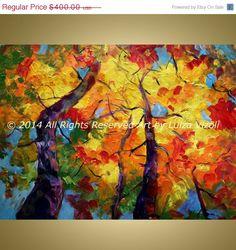 Original abstrait paysage Aspen arbres automne jour grande peinture à l'huile sur toile jaune, de bleu, de vert, de gris, rouille Art par Luiza Vizoli