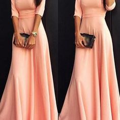 Gorgeous Pink Long Sleeve Maxi Dres..