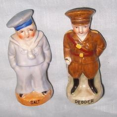 "I love that the sailor is the salt.  Get it...the ""salt?""  LUSTREWARE SOLDIER & SAILOR WWI FIGURAL SALT & PEPPERS SHAKERS 1930S JAPAN!"