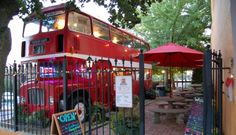 Sip on coffee and grab a scone inside of a Double Decker bus at Double D's in Asheville, NC