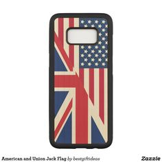 American and Union Jack Flag Carved Samsung Galaxy S8 Case