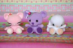 3 in 1 amigurumi crochet cat bear rabbit cute Crochet Amigurumi Free Patterns, Crochet Bunny, Crochet For Kids, Crochet Dolls, Free Crochet, Yarn Projects, Crochet Projects, Doll Tutorial, Stuffed Animal Patterns