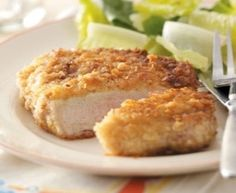 "Per another Pinner  ""Breaded bone-in pork chops:  1 egg per 3-4 chops. Mix: 1/2 cup breadcrumbs & 1/2 cup Parm chz. Dip chop in egg & poke holes, then in mix. Bake at 350 for 15 mins, then Turn & bake for 15 more mins. Finally, Sauté for a minute or 2 per side this perfects them! YUMMY GOODNESS!!!"""