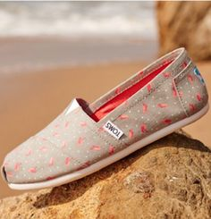 absolutely loves these grey TOMS with pink flamingos
