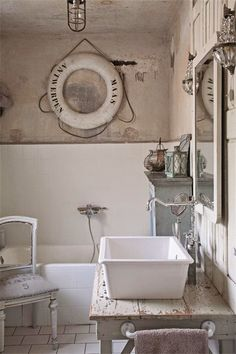 Nautical bathrooms, beach bathrooms, bathroom inspiration, cottages by the Powder Room Paint, Powder Room Decor, Powder Room Design, Nautical Bathrooms, Beach Bathrooms, Vintage Bathrooms, Chic Bathrooms, Bad Inspiration, Bathroom Inspiration