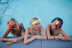 Greater Palm Springs Bachelorette Party at The Saguaro Hotel Pool. Photo by Ashley Williams. Bachelorette Weekend, Bachelorette 2017, Photoshoot Inspiration, Palm Springs, Pool Photo, Ashley Williams, 23rd Birthday, Suite Life, Flower Headbands