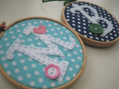 """4"""" Embroidery Hoop Art - Spotty Fabric - Personalized made to order - Wall Decor on Etsy, $16.00"""