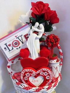 SALE INFINITE LOVE Elegant All Red & White Gift Basket by cappelloscreations, $60.00@Etsy
