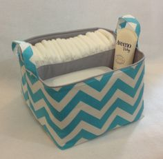 Diaper Caddy 10x10x7 Fabric Storage Bin Basket by Creat4usKids, $40.00