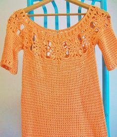 Vegan Orange Lace Top Crochet Cover Up Vintage by BlueStockinette, $65.00