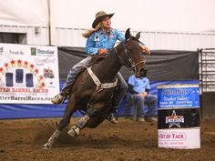 PHOTO: Adeline Nevala, 13 year old barrel racer, winning in open competitions with horses she trained.
