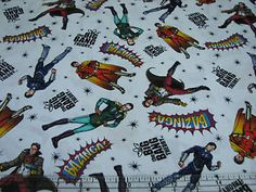 1-Yard-Quilt-Cotton-Fabric-David-Textiles-Big-Bang-Theory-Characters-on-White