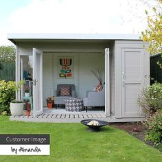 12 x 8 Waltons Contemporary Summerhouse with Side Shed (RH) garden ideas garden stepping stones cottage garage ideas shed diy walkways diy Garden Shed Interiors, What Is A Conservatory, Contemporary Garden Rooms, Summer House Garden, Summer Houses, Large Sheds, She Sheds, Garden Studio, Gardens