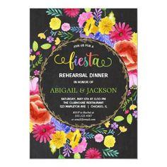 Mexican Fiesta Rehearsal Dinner chalkboard floral Invitation