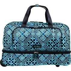 Vera Bradley Lighten Up Wheeled Carry-On ($158) ❤ liked on Polyvore featuring bags, luggage and blue