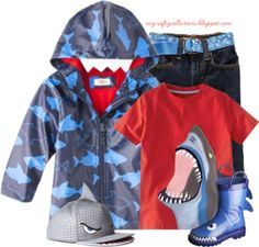 Toddler Boy's Outfit: Shark Week - Featuring items from Target, H&M, Old Navy, and Nordstrom.