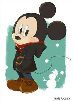 Mickey all snug in his winter coat.