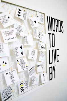Words to Live By: Quote Board DIY (with printable) want to go this for RA training teambuilder. Fav quotes or something. Will hang in our resource room. Photowall Ideas, Words To Live By Quotes, Peace Quotes, Motivation Wall, Ideias Diy, Office Walls, Office Boards, Office Break Room, Ra Boards