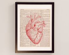 Vintage Heart Print Red - Anatomy Art - Print on Vintage Dictionary Paper - Doctor Gift - Medical School on Etsy, $9.00