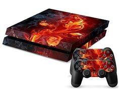 CloudSmart PS4 Designer Skin for Sony Playstation 4 Console System Plus Two2 Decals For PS4 Dualshock Controller  Beautiful Flame Flowers >>> Check out the image by visiting the link.Note:It is affiliate link to Amazon.