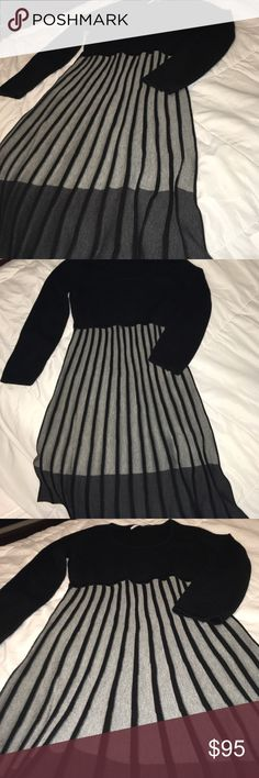 cad803be84f Cable knit CALVIN KLEIN fit+flare pleated dress Cable knit Long Sleeve fit  and flare