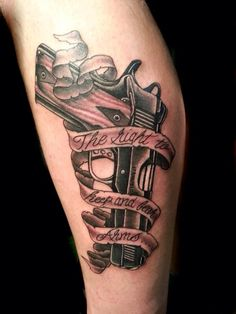 Tattoo by Jojo Miller, Dynamic Ink, Quantum Ink, tattoo placement, tattoo ideas, tattoos for men, tattoos for women, tattoos, pistol, gun, .45, the right to bear arms, ribbon, wood, handle, black and grey