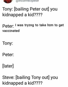 [later] Bucky: *bailing tony peter and Steve our of jail* you kidnapped a kid? Funny Marvel Memes, Avengers Memes, Marvel Jokes, Funny Memes, Marvel Dc Comics, Marvel Avengers, Marvel Cinematic Universe, Comics Universe, Superfamily