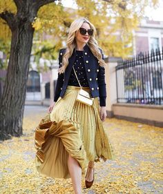 """""""I told you I was in love with the pleated midi skirt! This yellow velvet number pairs so well back to gold. This skirt could very well be my go-to for holiday get-togethers."""" - @blaireadiebee for #LTKTakeoverTuesday, #NYC edition 