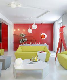 Wandfarbe Wohnzimmer Fluoreszierende Farbe