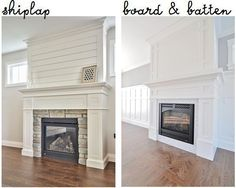 Board and batten. Which is better for your home? Shiplap has become wildly popular since Joanna Gaines stepped on the HGTV scene. Board and Batten is a timeless classic. Shiplap Fireplace, Farmhouse Fireplace, Home Fireplace, Fireplace Remodel, Living Room With Fireplace, Fireplace Surrounds, Fireplace Design, Fireplace Ideas, Fireplace Mantels