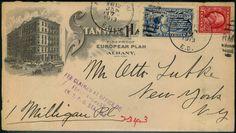 """United States, Michel 187 - 10 C. Eilmarke 1911 nebst 2 C. Washington auf herrl. Werbeumschlag """"STANWIX HALL"""". Michel Nr.187 etc.  Lot condition   Dealer Briefmarken Fischer Shop  Fixed price: 25.00 EUR"""