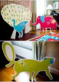 huge animal cardboard cutouts!  (DEFINITELY stealing this idea......beautiful.)