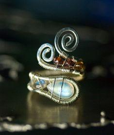 Moonstone Argentium Silver Gemstone Wirework Ring  by mossandmist, $60.00