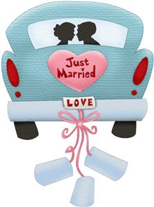 Silhouette Design Store car just married Wedding Anniversary Cards, Happy Anniversary, Wedding Cards, Wedding Gifts, Just Married Auto, Foto Transfer, Wedding Clip, Silhouette Online Store, Silhouette Design