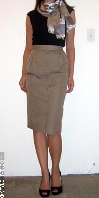 Splendid tee, vintage Christian Dior skirt, Louis Vuitton scarf, Christian Louboutin pumps