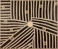 Walala Tjapaltjarri (b. c1969-)  Region: Wilkinkarra (Lake Mackay) & Kiwirrkurra, WA  Language group: Pintupi  Tingari Cycle Dreaming 2005