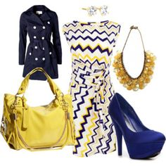 Don't know if I could pull off the dress .. but I love the navy blue and yellow!