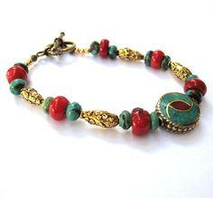 Turquoise Coral Bracelet Antique Gold Tibetan by CinLynnBoutique, $38.00