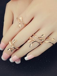 Cheap leaf ring, Buy Quality gold ring directly from China fashion rings for women Suppliers: Sindlan Ring Fashion / Set Gold Rings Simple Charm Wedding Jewelry Vintage Open Spinner Leaves Ring For Women Stylish Jewelry, Cute Jewelry, Luxury Jewelry, Women Jewelry, Hand Jewelry, Jewelry Rings, Jewelery, Diamond Bands, Diamond Wedding Bands