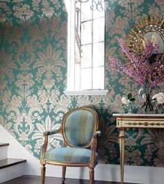 Thibaut Addison - love the bold pattern on a single wall.  Would like a diff. color scheme.